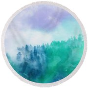 Round Beach Towel featuring the photograph Enchanted Scenery by Klara Acel