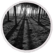 Enchanted Sunset In Monochrome Round Beach Towel