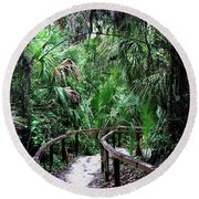 Round Beach Towel featuring the photograph Enchanted Walk by Gary Wonning