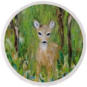 Round Beach Towel featuring the painting Enchantment by Judith Rhue