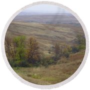 Enchantment Of The September Grasslands Round Beach Towel