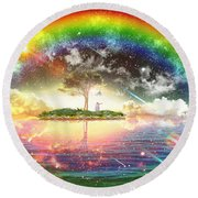 Encountering The Holy Spirit Round Beach Towel by Dolores Develde