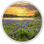 End Of A Bluebonnet Day Round Beach Towel