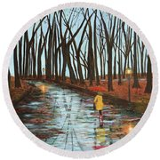 End Of Autumn Round Beach Towel