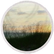 Round Beach Towel featuring the photograph End Of Day At Pentwater by Michelle Calkins
