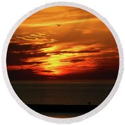 End Of Day Round Beach Towel by David Stasiak