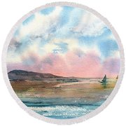 End Of Day Round Beach Towel