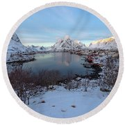 End Of Day, Reine, Lofoten,  Round Beach Towel by Dubi Roman