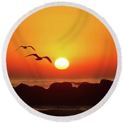 End Of Summer Round Beach Towel