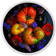 End Of Summer Colors Round Beach Towel