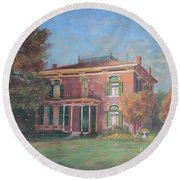 Round Beach Towel featuring the painting End Of Summer by Nancy Lee Moran