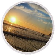 Round Beach Towel featuring the photograph End Of Summer Sunset Surf by T Brian Jones