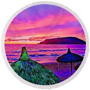 End Of The Beach Day In Mazatlan Round Beach Towel