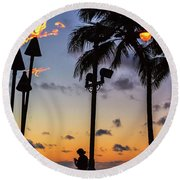 End Of The Beutiful Day.hawaii Round Beach Towel