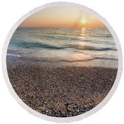 End Of The Day At Pierport Round Beach Towel