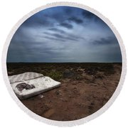 End Of The Earth Round Beach Towel
