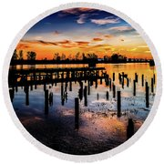 End Of The Fishing Day Round Beach Towel