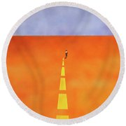 End Of The Line Round Beach Towel