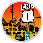 End Of The Road Round Beach Towel