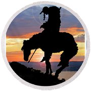 End Of The Trail Sculpture In A Sunset Round Beach Towel
