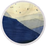 Endless Mountains Left Panel Round Beach Towel