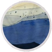 Endless Mountains Right Panel Round Beach Towel