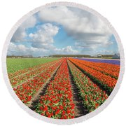 Endless Rows Of Blooming Tulips Round Beach Towel