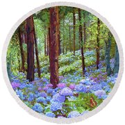 Endless Summer Blue Hydrangeas Round Beach Towel