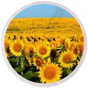 Endless Sunflowers Round Beach Towel
