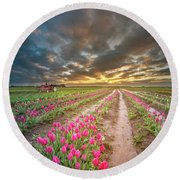 Round Beach Towel featuring the photograph Endless Tulip Field by William Lee
