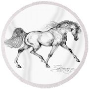 Endurance Horse Round Beach Towel