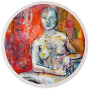 Round Beach Towel featuring the painting Energy In Stillness by Mary Schiros