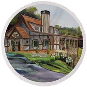 Engelheim In The Morning - Vineyard - Ellijay, Ga Round Beach Towel by Jan Dappen