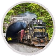 Engine 501 Coming Through The Brush Tunnel Round Beach Towel by Jeannette Hunt