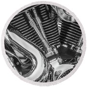 Round Beach Towel featuring the photograph Engine Chrome In Black And White by Samuel M Purvis III