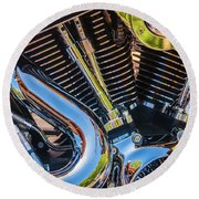 Round Beach Towel featuring the photograph Engine Chrome by Samuel M Purvis III