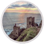 Engine Houses At Crown Mines Round Beach Towel