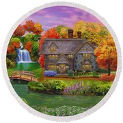England Country Autumn Round Beach Towel