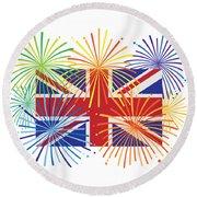 England Jack Union Flag Fireworks Illustrationing Evening Blu Round Beach Towel
