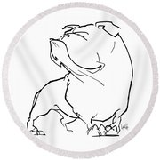 English Bulldog Gesture Sketch Round Beach Towel