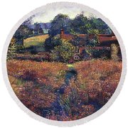 English Country Fields Round Beach Towel
