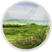 English Country Landscape 2 Round Beach Towel by Wallaroo Images