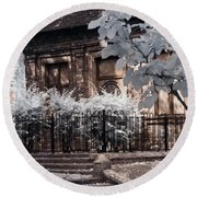 Round Beach Towel featuring the photograph English Garden House by Helga Novelli