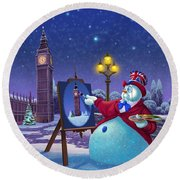 English Snowman Round Beach Towel