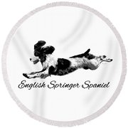 Round Beach Towel featuring the digital art English Springer Spaniel by Ann Lauwers