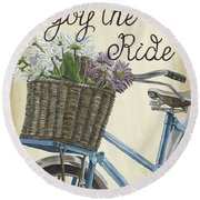 Enjoy The Ride Vintage Round Beach Towel