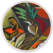 Round Beach Towel featuring the painting Enjoying Food And Drink by Leon Zernitsky