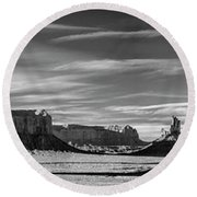 Round Beach Towel featuring the photograph Enjoying The Calm by Jon Glaser