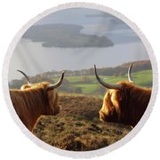 Enjoying The View - Highland Cattle Round Beach Towel