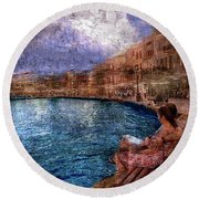 Enjoying The View On The Beach At Nice, France. Round Beach Towel